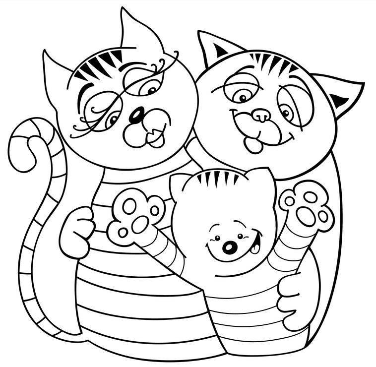Ausmalbild Tiere Katzenfamilie Zum Ausmalen Kostenlos