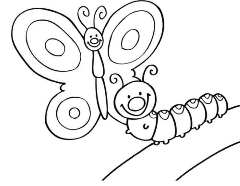Kostenlose Malvorlage Tiere: Schmetterling und Raupe zum Ausmalen