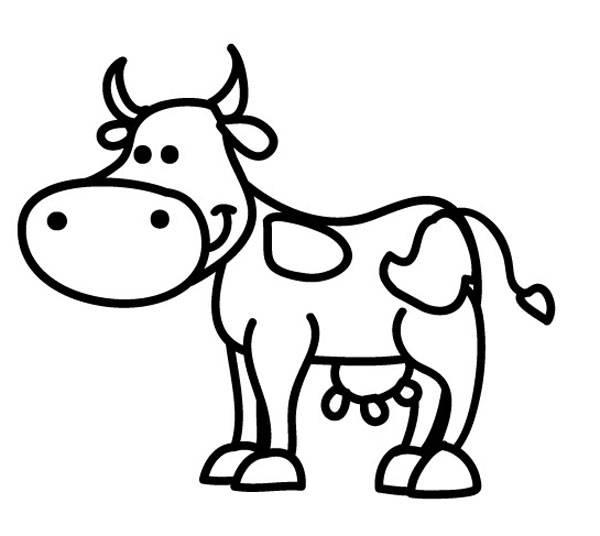 Ausmalbild Tiere: Kuh zum Ausmalen kostenlos ausdrucken