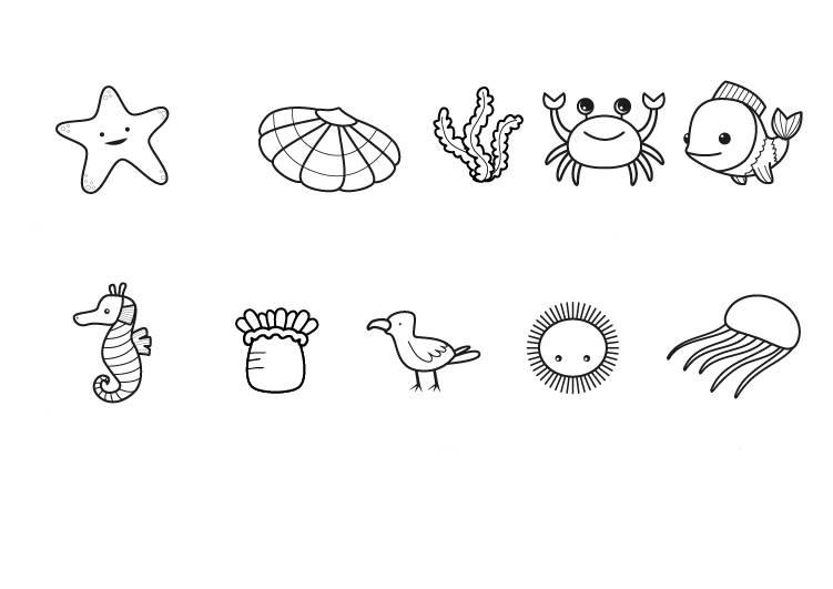 Ausmalbild Tiere: Tiere am Strand und im Meer kostenlos ausdrucken