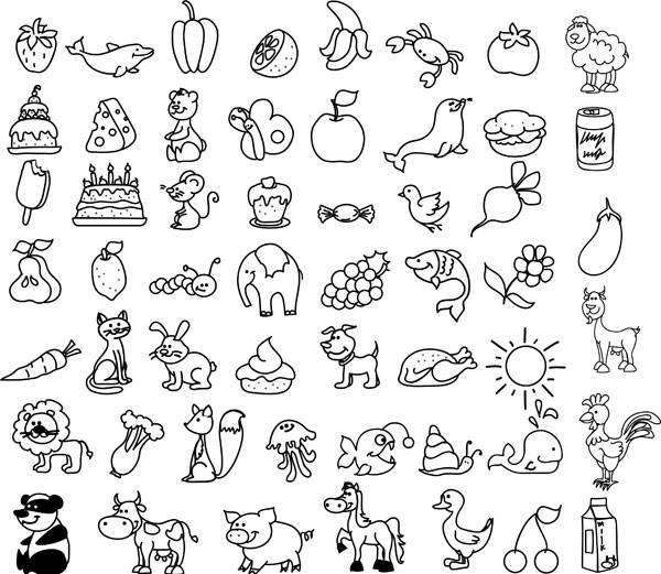 Ausmalbild Tiere Wimmelbild Tiere Und Lebensmittel Zum