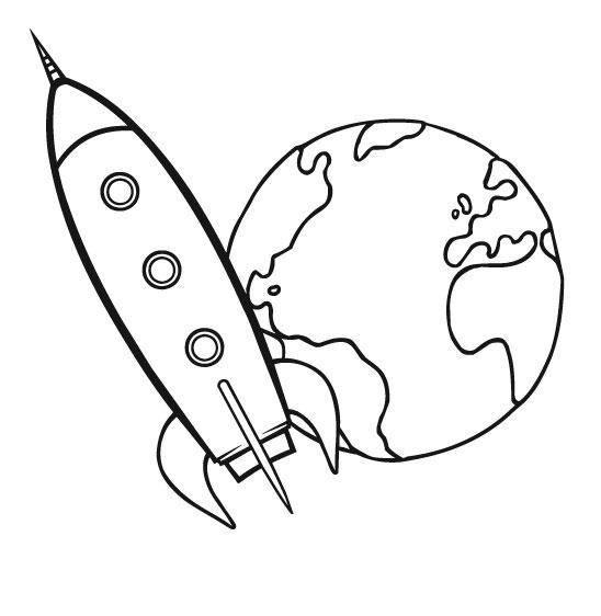 Ausmalbild Transportmittel: Rakete kostenlos ausdrucken