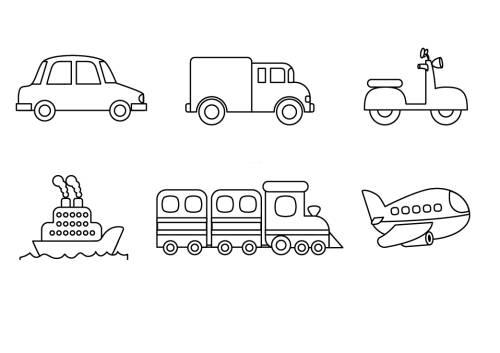 Kostenlose Malvorlage Transportmittel Verschiedenen Fahrzeuge Zum