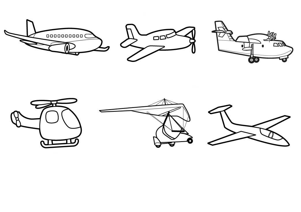 kostenlose malvorlage transportmittel: flugzeuge zum