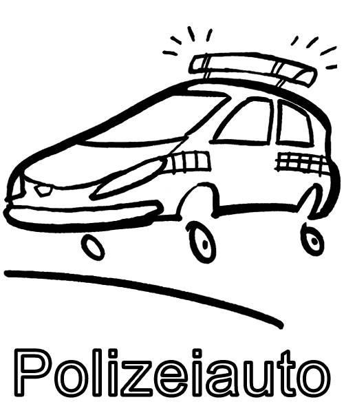 Ausmalbild Transportmittel Polizeiauto Zum Ausmalen Kostenlos