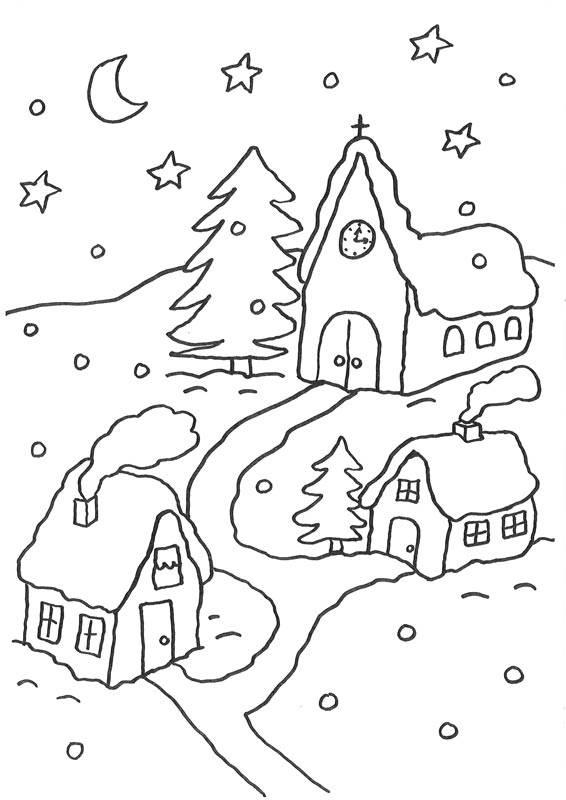 ausmalbild weihnachten verschneites dorf kostenlos ausdrucken