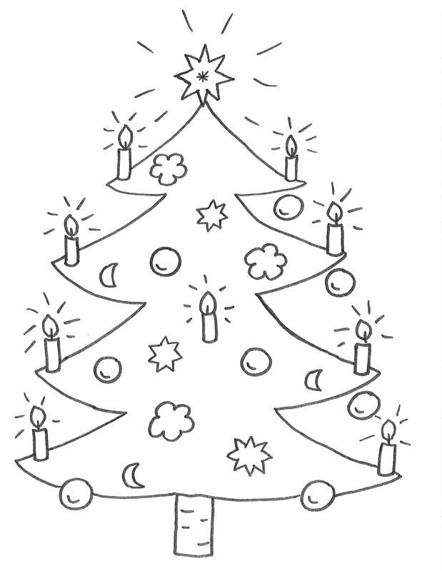 Kostenlose Malvorlage Weihnachten: Weihnachtsbaum zum Ausmalen