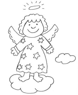 kostenlose malvorlage weihnachten: kostenlose malvorlage: engel auf einer wolke zum ausmalen