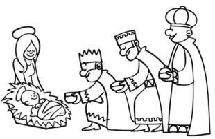kostenlose malvorlage weihnachten: kostenlose malvorlage: die heiligen drei könige überreichen