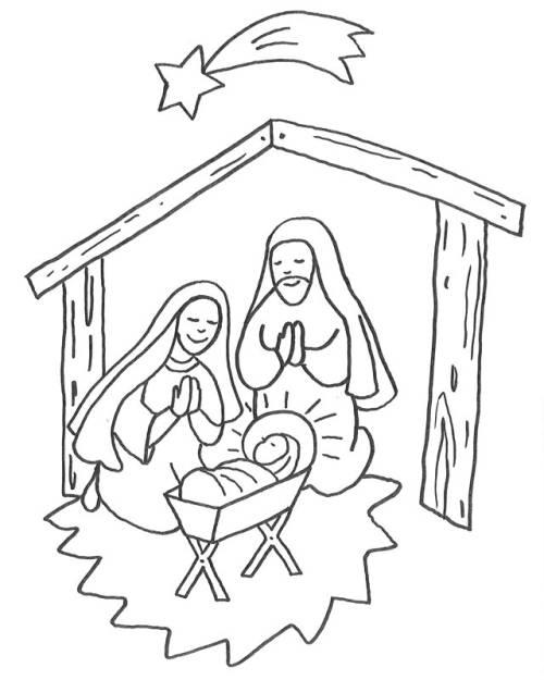 kostenlose malvorlage weihnachten jesus geburt im stall. Black Bedroom Furniture Sets. Home Design Ideas
