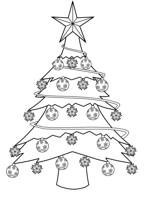 kostenlose malvorlage weihnachtsb ume geschm ckter weihnachtsbaum zum ausmalen. Black Bedroom Furniture Sets. Home Design Ideas