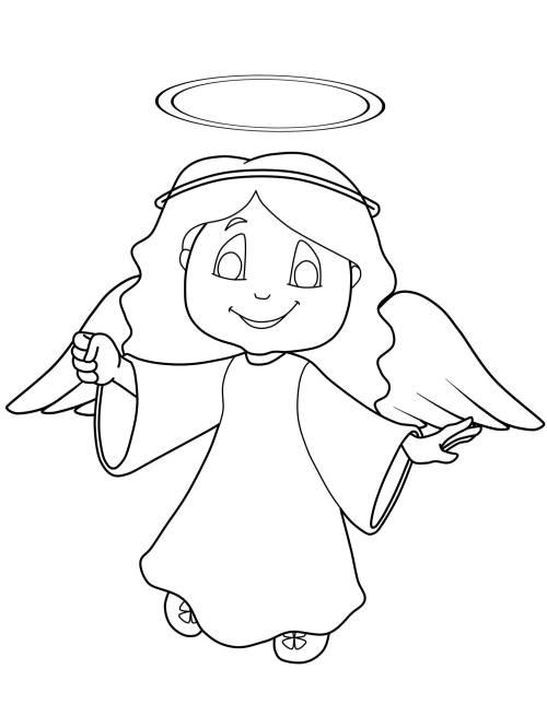 Kostenlose Malvorlage Weihnachtsengel Engel Mit Heiligenschein Zum Ausmalen