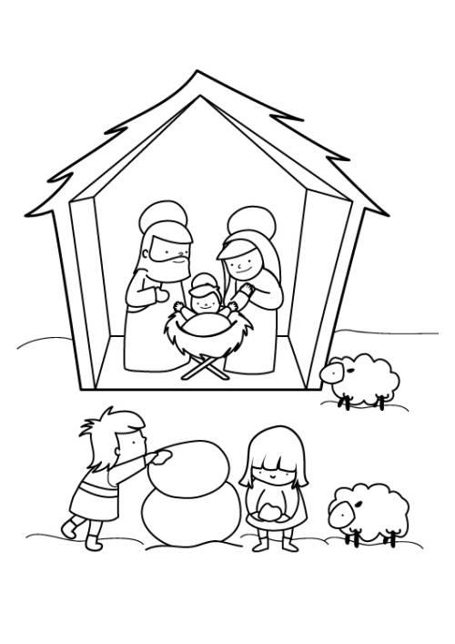 Kostenlose Malvorlage Weihnachten Krippe Im Schnee Zum Ausmalen Zum