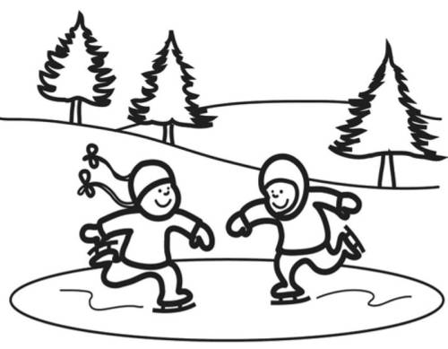 Kostenlose Malvorlage Winter Kinder Beim Eislaufen Zum Ausmalen