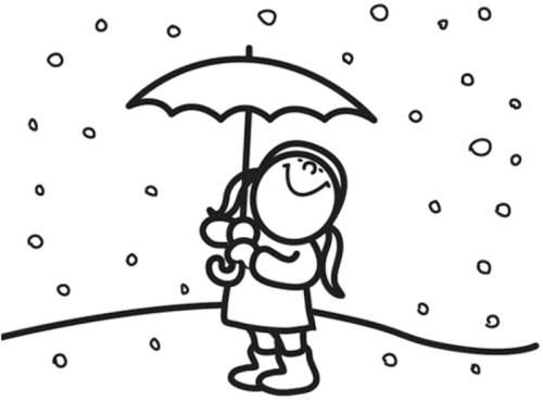 Dibujos De Paraguas Para Colorear E Imprimir: Kostenlose Malvorlage Winter: Mädchen Im Schnee Zum Ausmalen