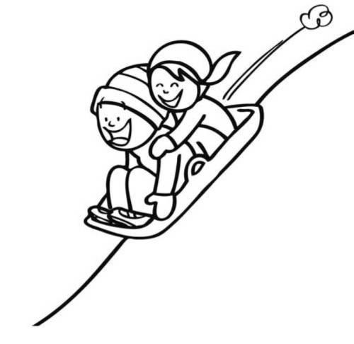 Kostenlose Malvorlage Winter Kinder Beim Schlittenfahren Zum Ausmalen