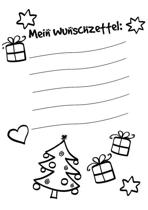 kostenlose malvorlage wunschzettel für weihnachten