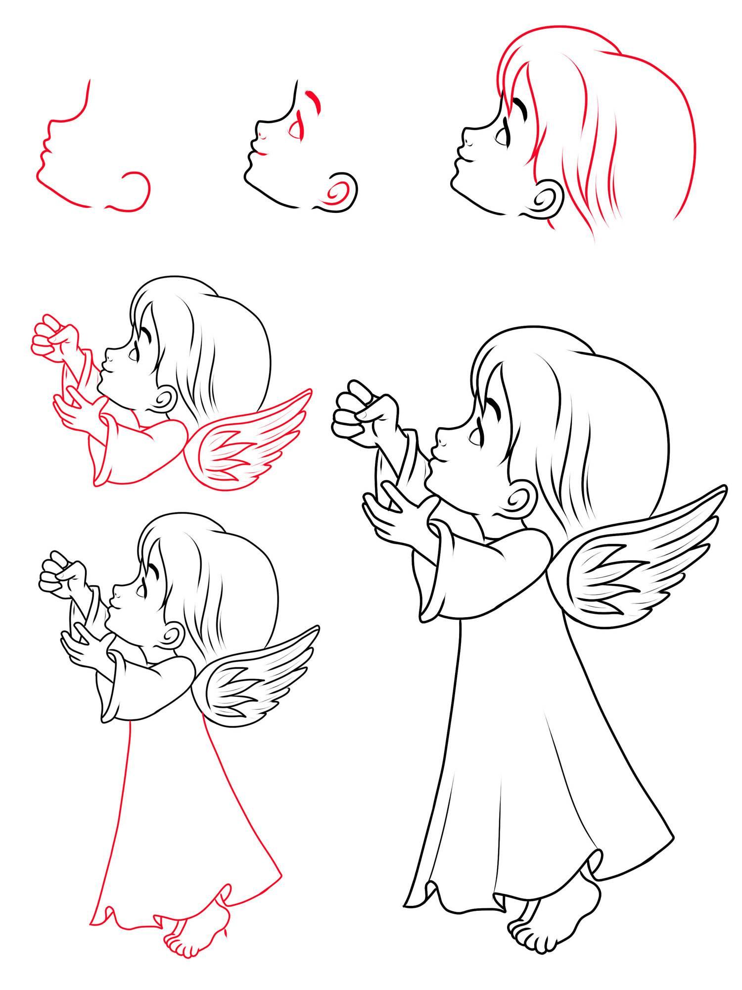 Holzstempel Dein Schutzengel Engel Zeichnen 1