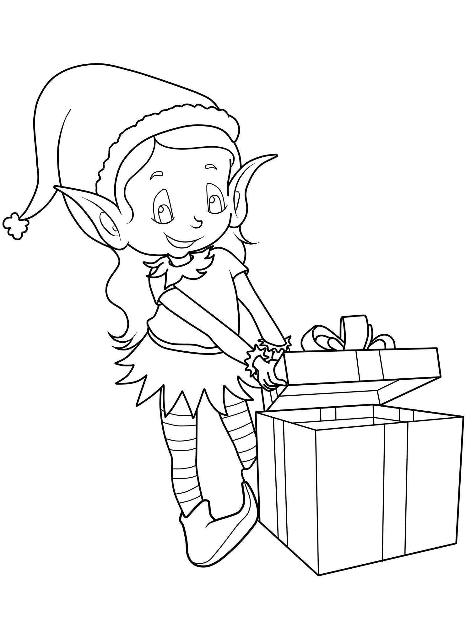 Kostenlose Malvorlage Weihnachten: Elf mit Weihnachtsgeschenk zum ...