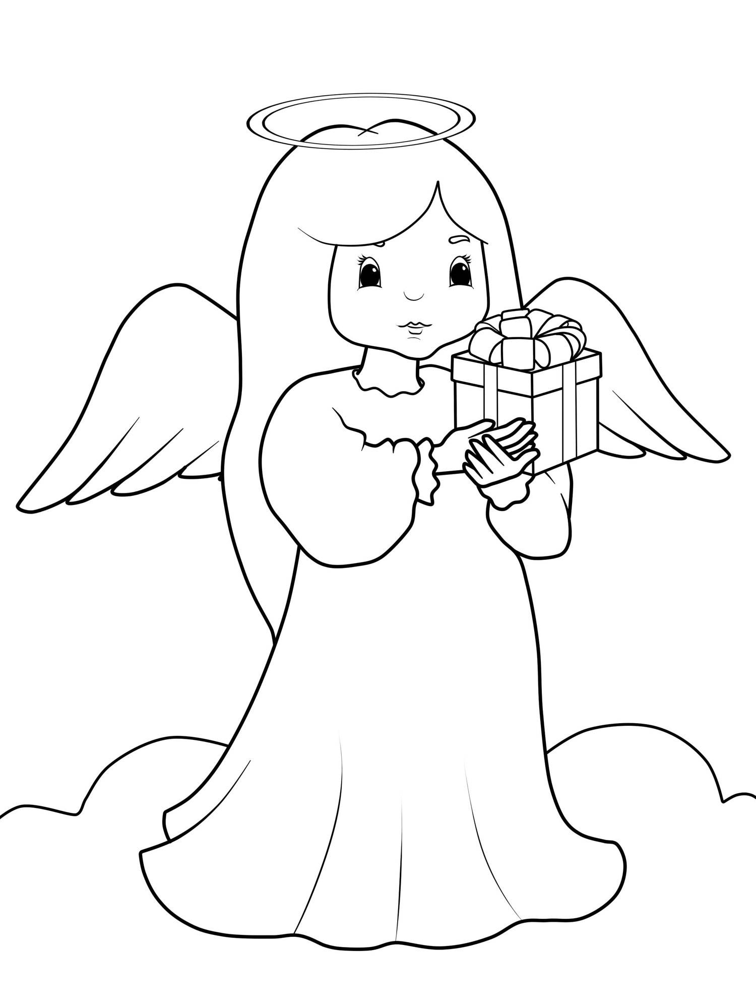 Kostenlose Malvorlage Weihnachtsengel: Engel mit Geschenk zum Ausmalen