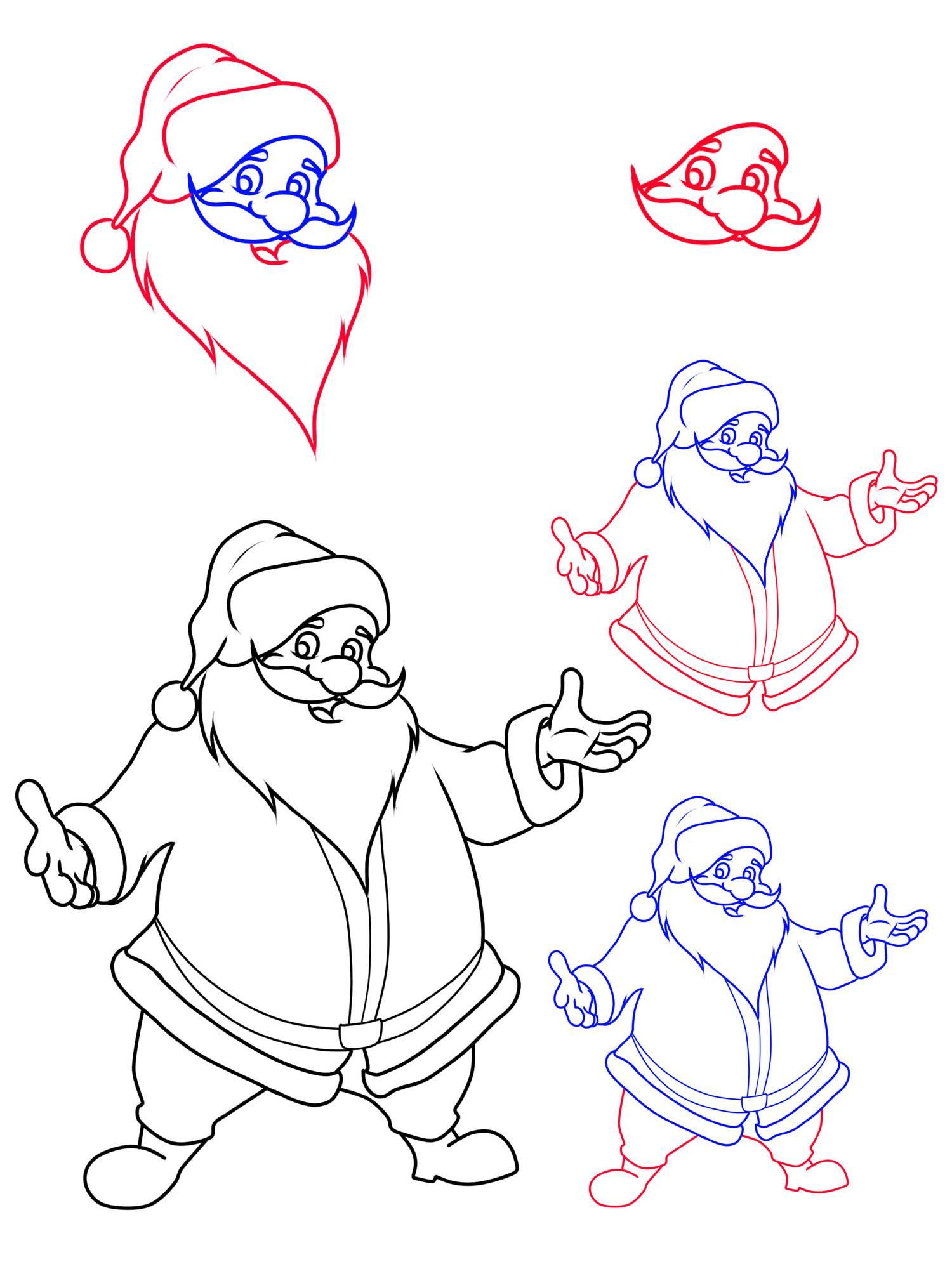 Kostenlose Malvorlage Weihnachtsmänner Wie malt man einen Weihnachtsmann zum Ausmalen