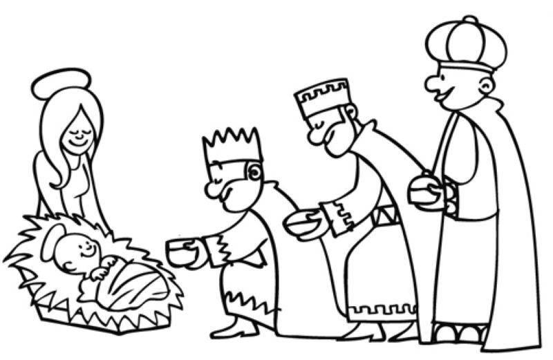 Ausmalbild Weihnachten: Die Heiligen Drei Könige überreichen die ...