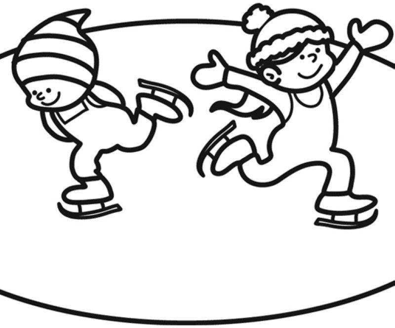 ausmalbild winter kinder beim schlittschuhlaufen