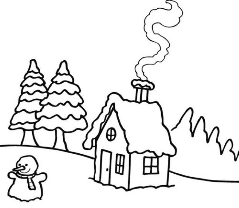 Malvorlage Haus: Kostenlose Malvorlage Winter: Winterlandschaft Zum Ausmalen