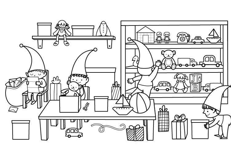 ausmalbild weihnachten weihnachtswerkstatt ausmalen. Black Bedroom Furniture Sets. Home Design Ideas
