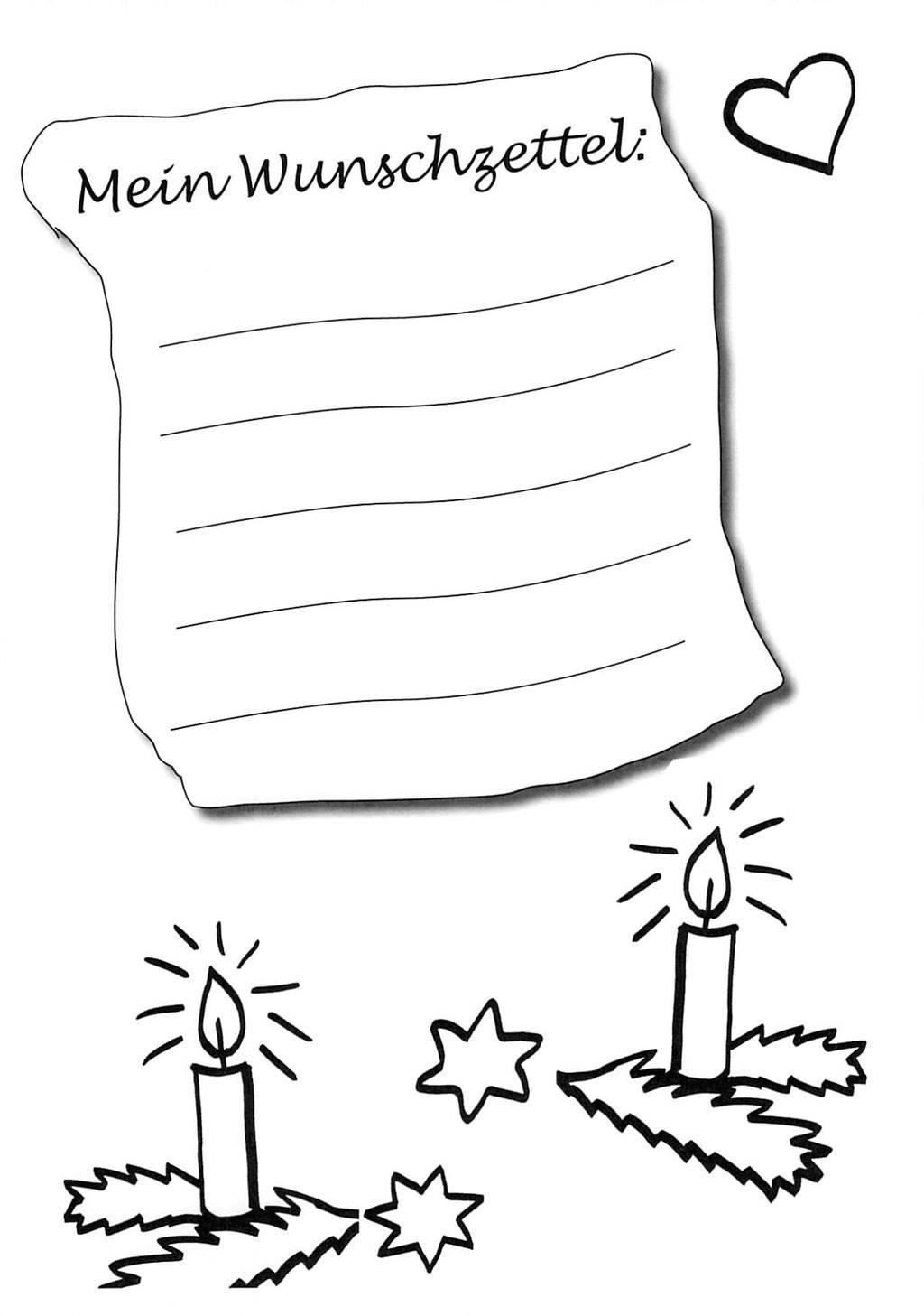 Kostenlose Malvorlage Wunschzettel für Weihnachten: Ausmalbild ...