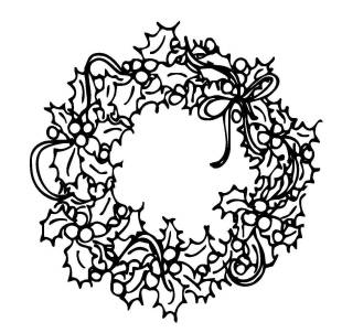 kostenlose malvorlage weihnachten: kostenlose malvorlage: kranz aus stechpalmenzweigen zum ausmalen