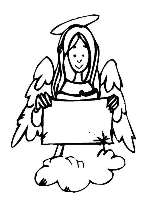 kostenlose malvorlage weihnachten: engel mit zettel zum