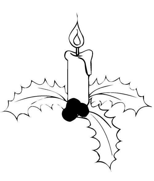 Kostenlose Malvorlage Weihnachten Kerze Auf Stechpalmenzweigen Zum