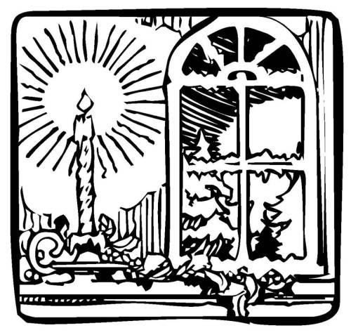 Kostenlose Malvorlage Weihnachten Kerze Im Fenster Zum Ausmalen