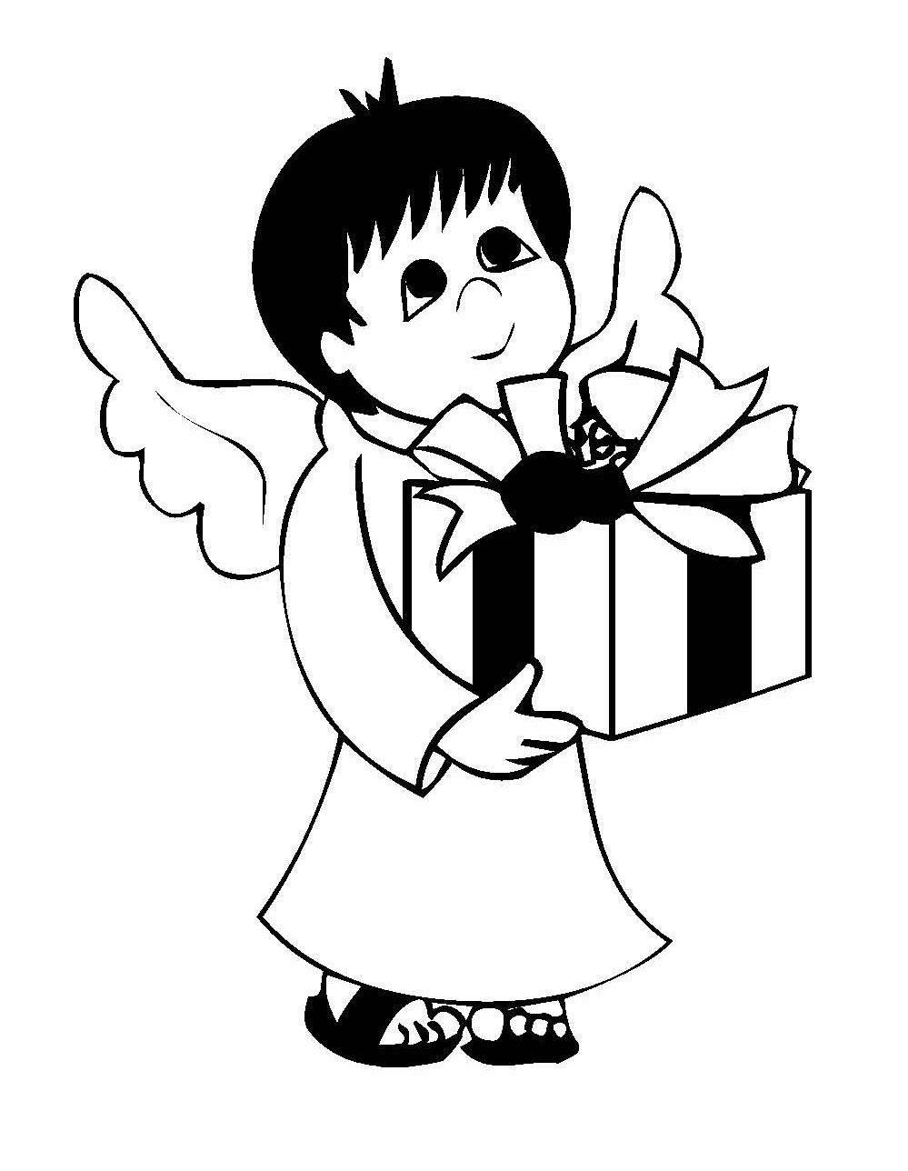 ausmalbild weihnachten engelchen mit geschenk kostenlos. Black Bedroom Furniture Sets. Home Design Ideas