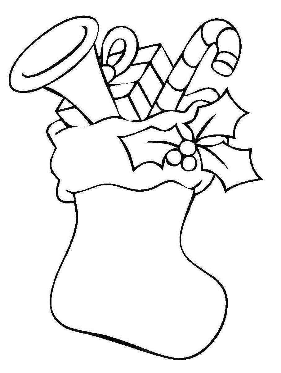Kostenlose Malvorlage Weihnachten: Gefüllter Strumpf mit