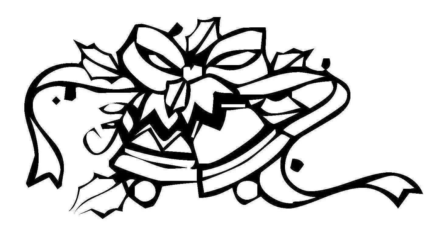 Bilder Weihnachten Kostenlos Schwarz Weiß.Ausmalbild Weihnachten Glocken Mit Großer Schleife Kostenlos Ausdrucken