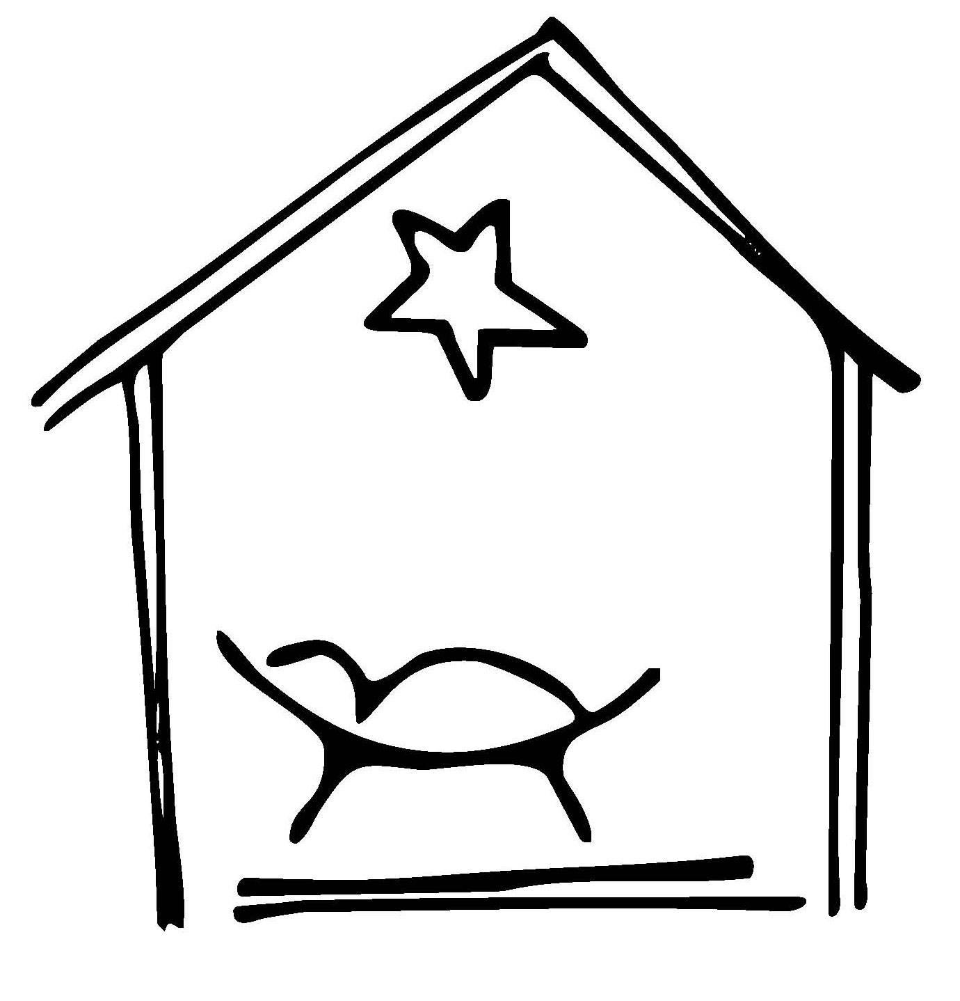 Ausmalbild Weihnachten: Krippe kostenlos ausdrucken