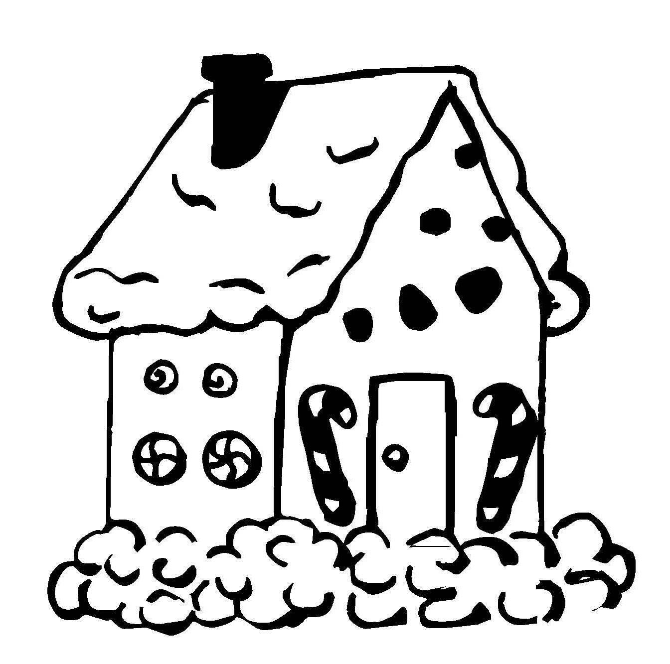 Kostenlose Malvorlage Weihnachten: Lebkuchenhaus zum Ausmalen