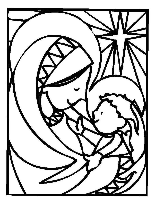 ausmalbild weihnachten maria und jesuskind kostenlos