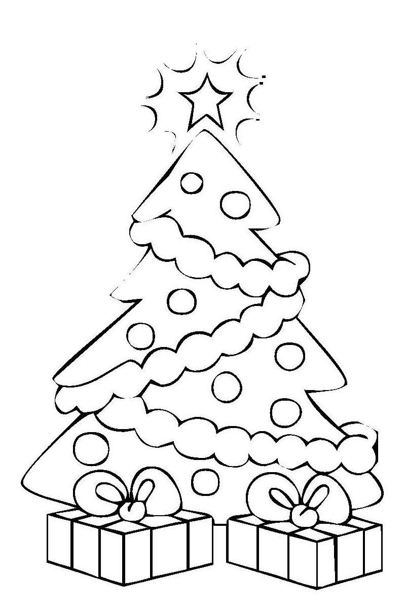 Ausmalbild Weihnachten: Weihnachtsbaum mit Geschenken kostenlos ...