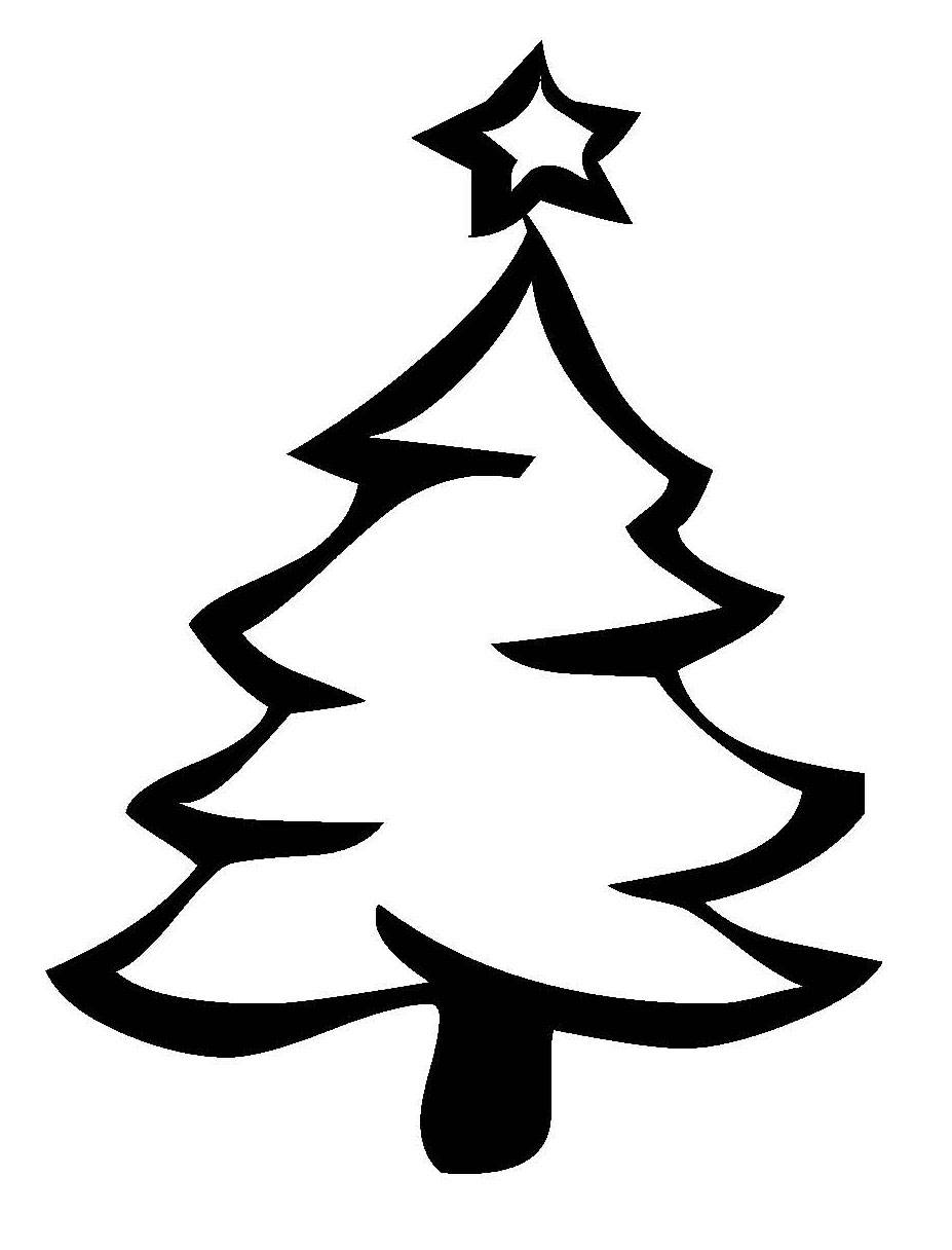 Kostenlose Malvorlage Weihnachten Weihnachtsbaum mit Sternspitze zum Ausmalen