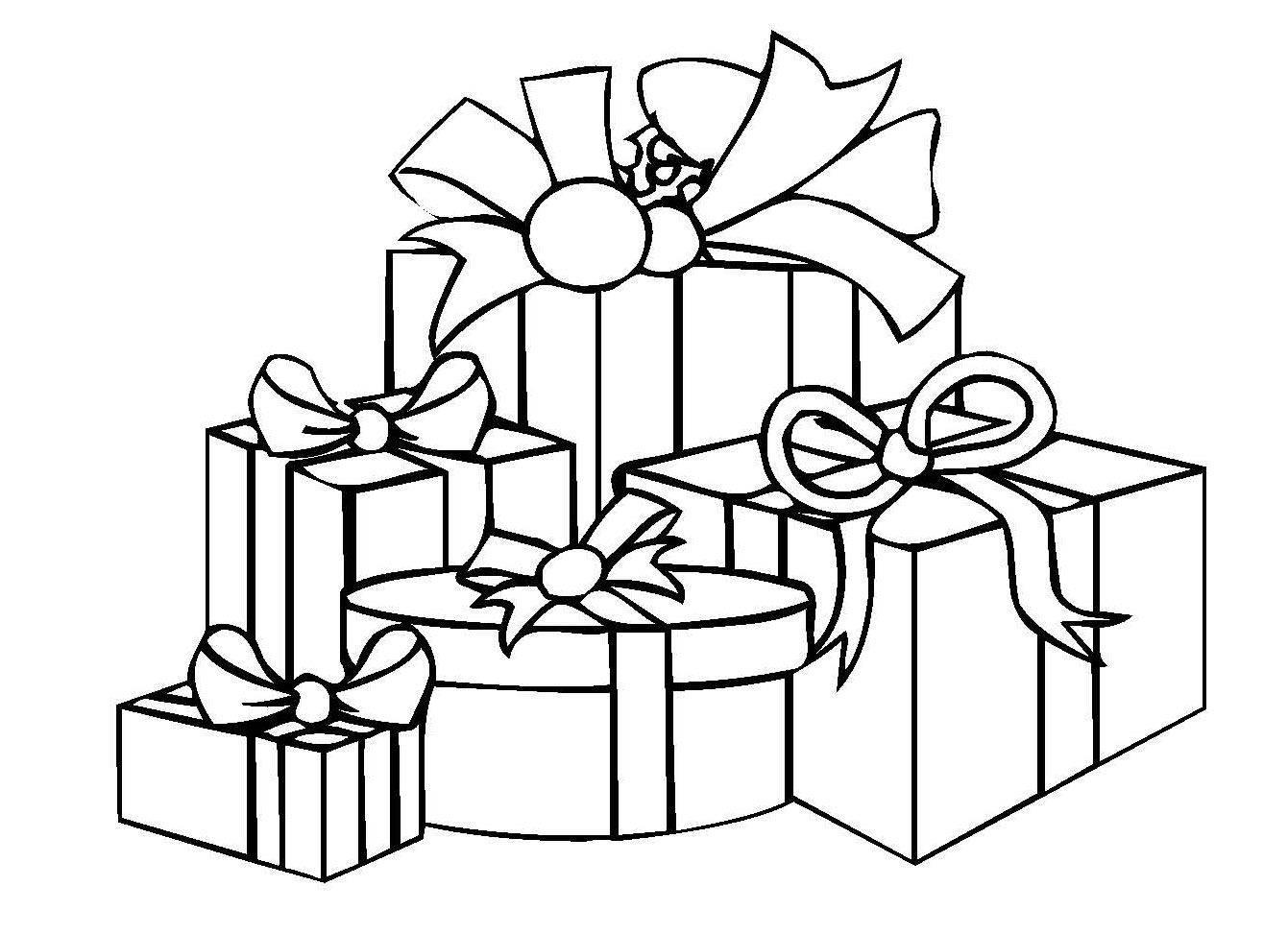 Kostenlose Malvorlage Weihnachten: Weihnachtsgeschenke zum Ausmalen