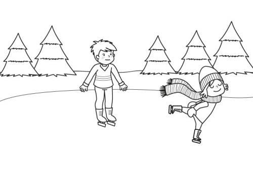 Kostenlose Malvorlage Winter Kinder Beim Eislaufen Ausmalen Zum