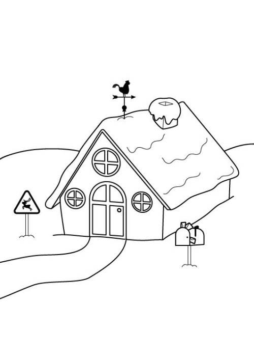 Kostenlose Malvorlage Winter Haus Im Schnee Ausmalen Zum Ausmalen
