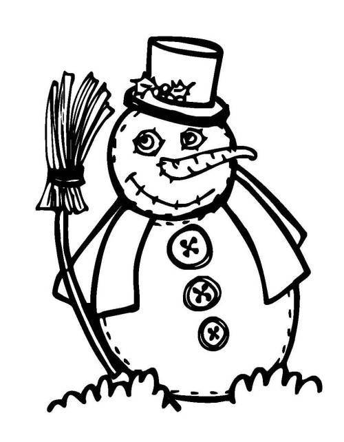 Kostenlose Malvorlage Schneemänner: Schneemann mit Besen zum Ausmalen