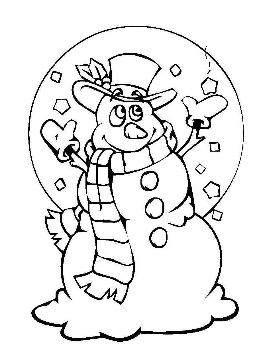 Kostenlose Malvorlage Schneemänner Schneemann mit Wollschal zum Ausmalen