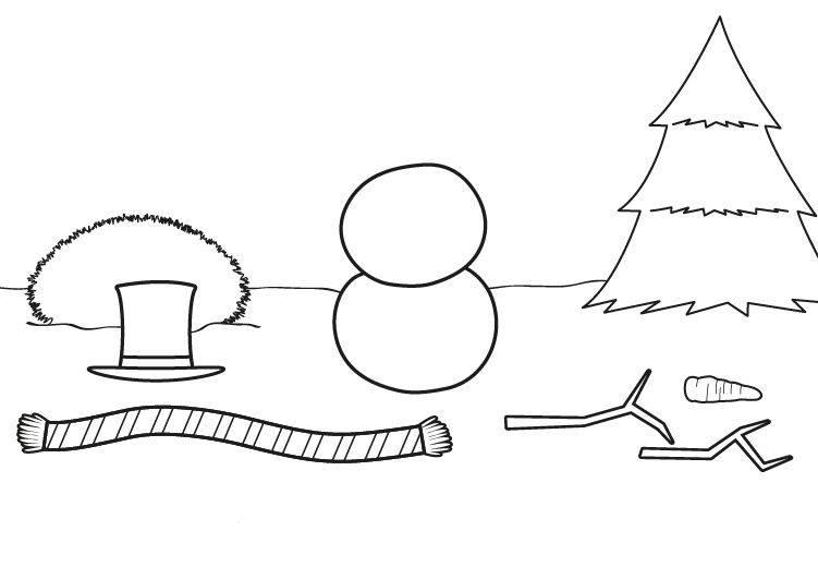 Ausmalbild Winter: Schneemann bauen kostenlos ausdrucken