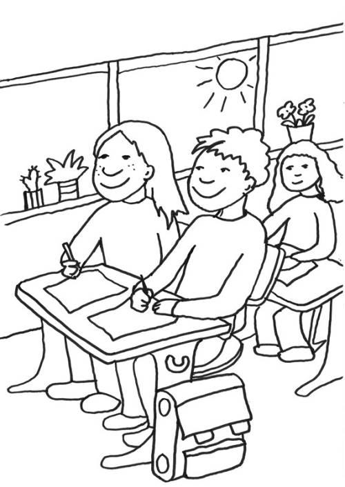 Kostenlose Malvorlage Zweite Klasse: Schüler im Klassenzimmer zum ...
