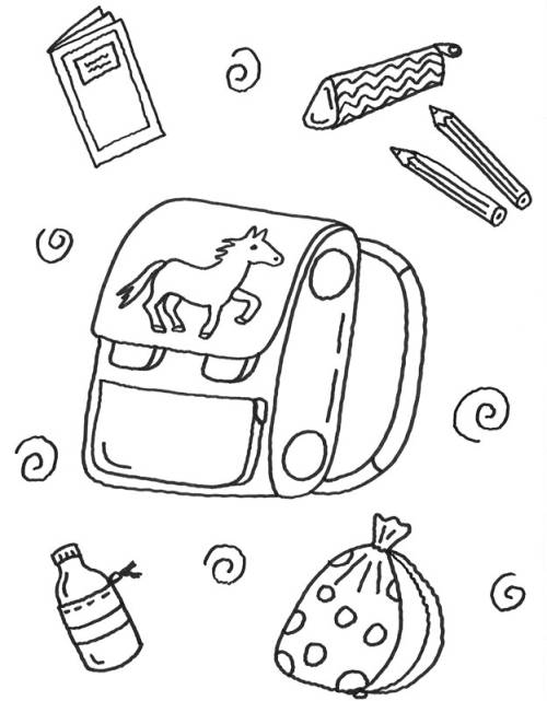 Kostenlose Malvorlage Zweite Klasse Schultasche Mit Büchern Zum